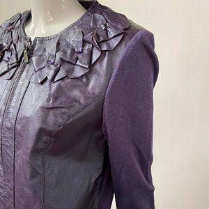 Violet Leather and Knit Petite Jacket sz PM